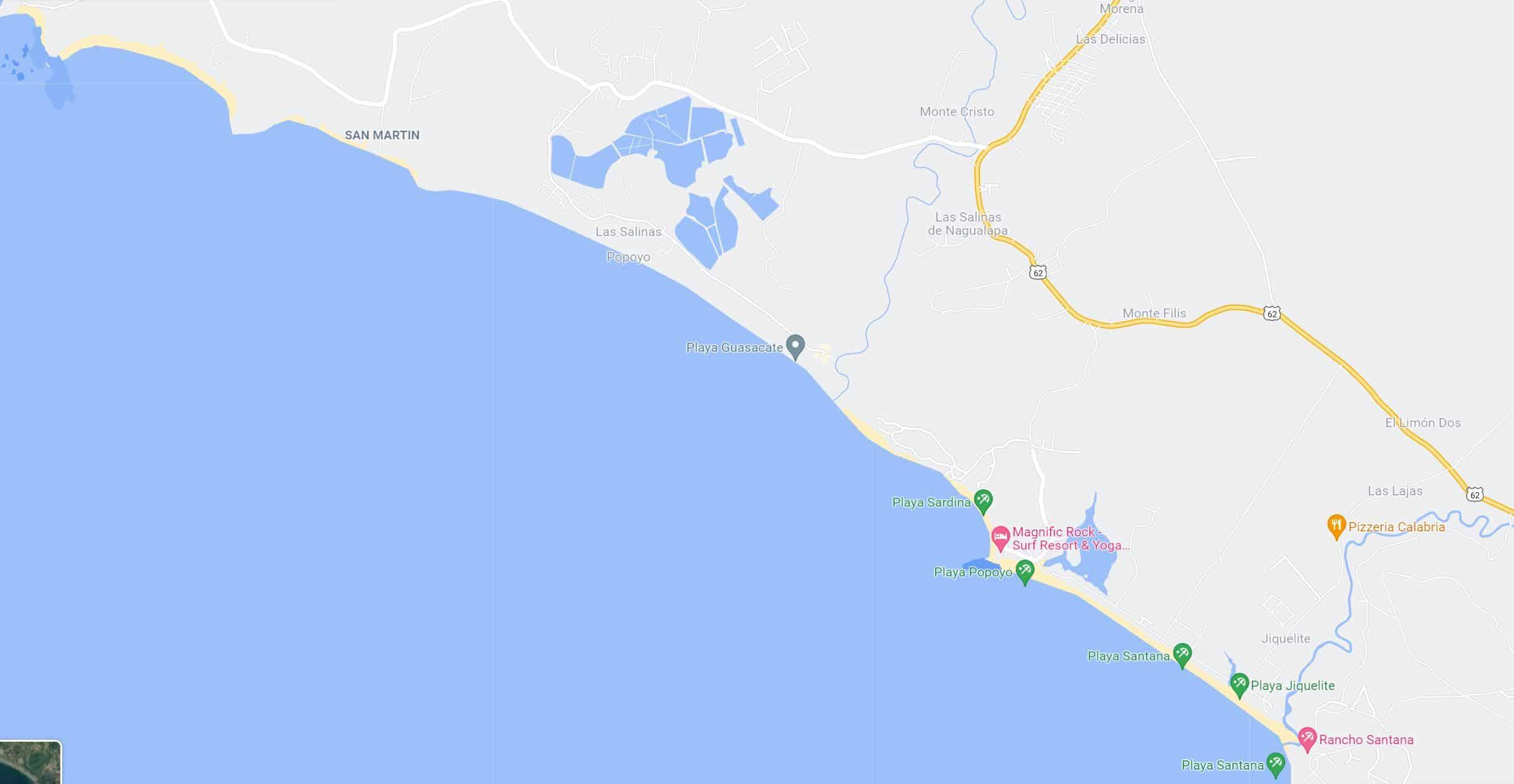 Popoyo Beach Nicaragua Map